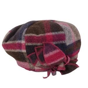 Kate Landry Wool Blend Fuchsia Plaid Caddie Hat